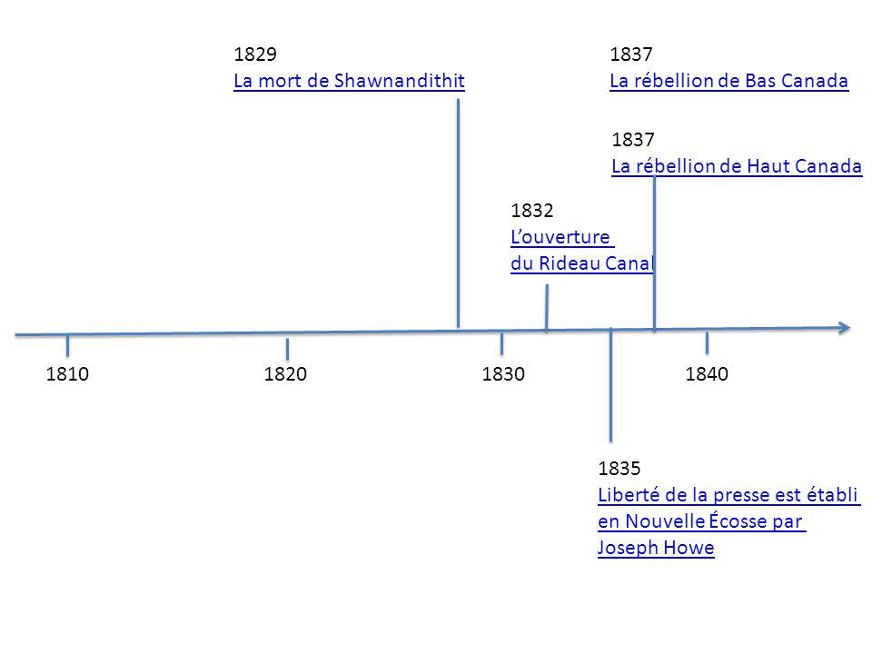181018201830 1840 1829 La mort de Shawnandithit 1832 Louverture du Rideau Canal 1835 Liberté de la presse est établi en Nouvelle Écosse par Joseph How