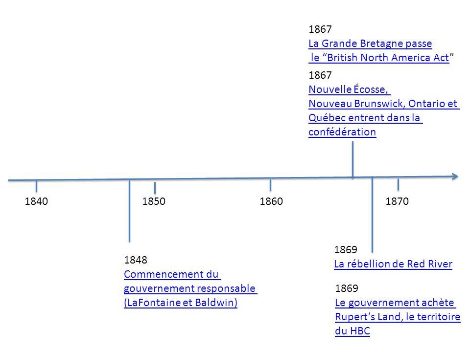 184018501860 1870 1869 La rébellion de Red River 1848 Commencement du gouvernement responsable (LaFontaine et Baldwin) 1867 Nouvelle Écosse, Nouveau B