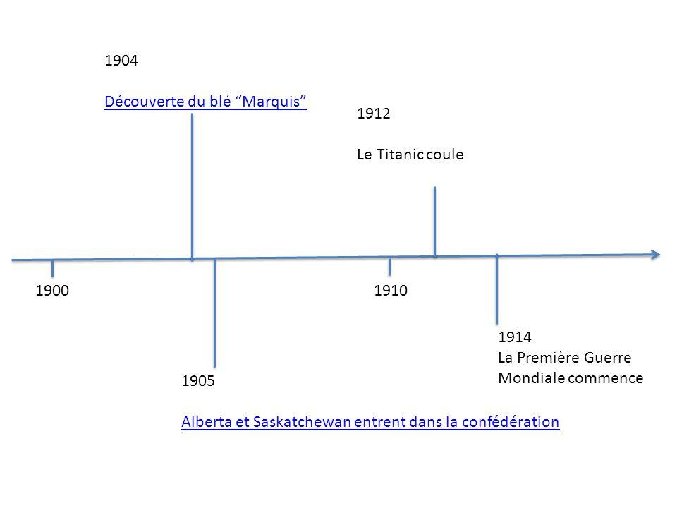 19001910 1905 Alberta et Saskatchewan entrent dans la confédération 1904 Découverte du blé Marquis 1912 Le Titanic coule 1914 La Première Guerre Mondi