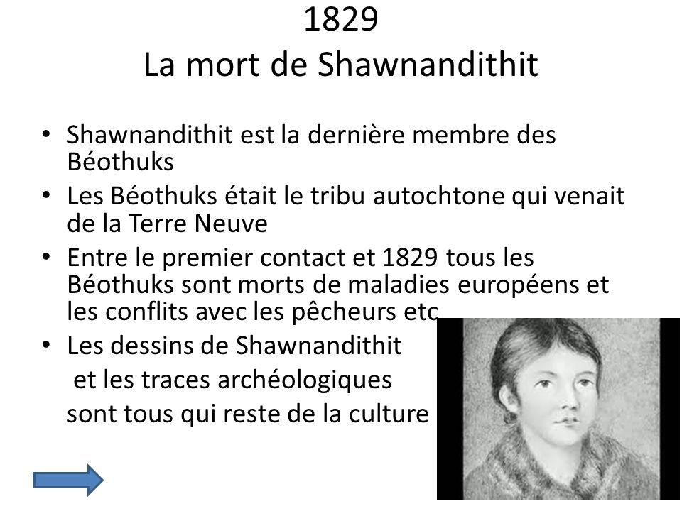 1829 La mort de Shawnandithit Shawnandithit est la dernière membre des Béothuks Les Béothuks était le tribu autochtone qui venait de la Terre Neuve En