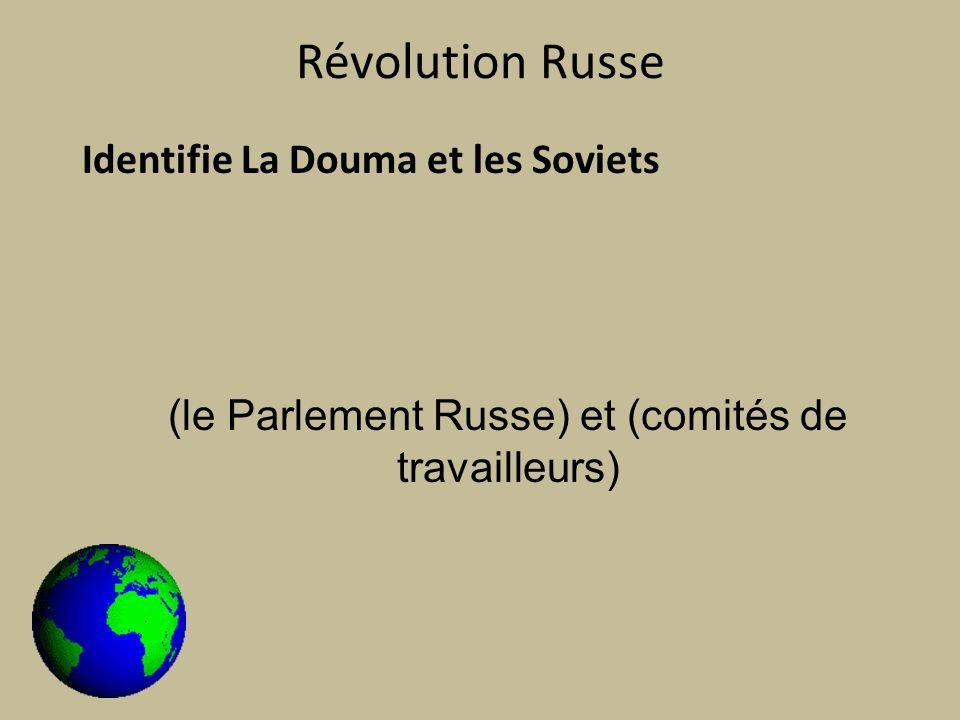 Révolution Russe Identifie La Douma et les Soviets (le Parlement Russe) et (comités de travailleurs)