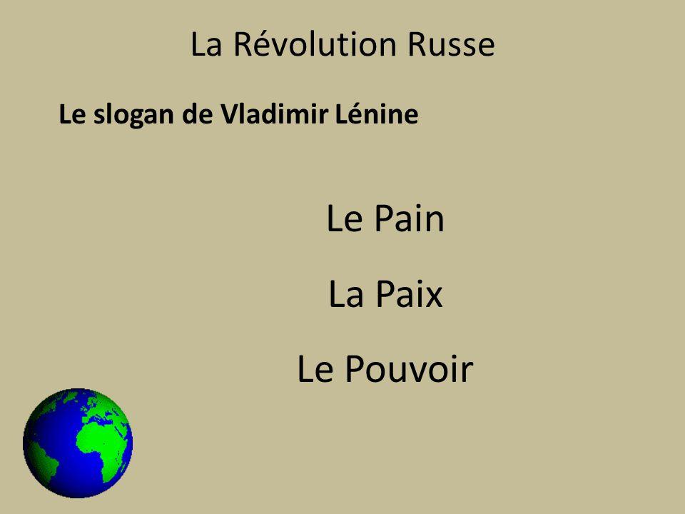 La Révolution Russe Le slogan de Vladimir Lénine Le Pain La Paix Le Pouvoir