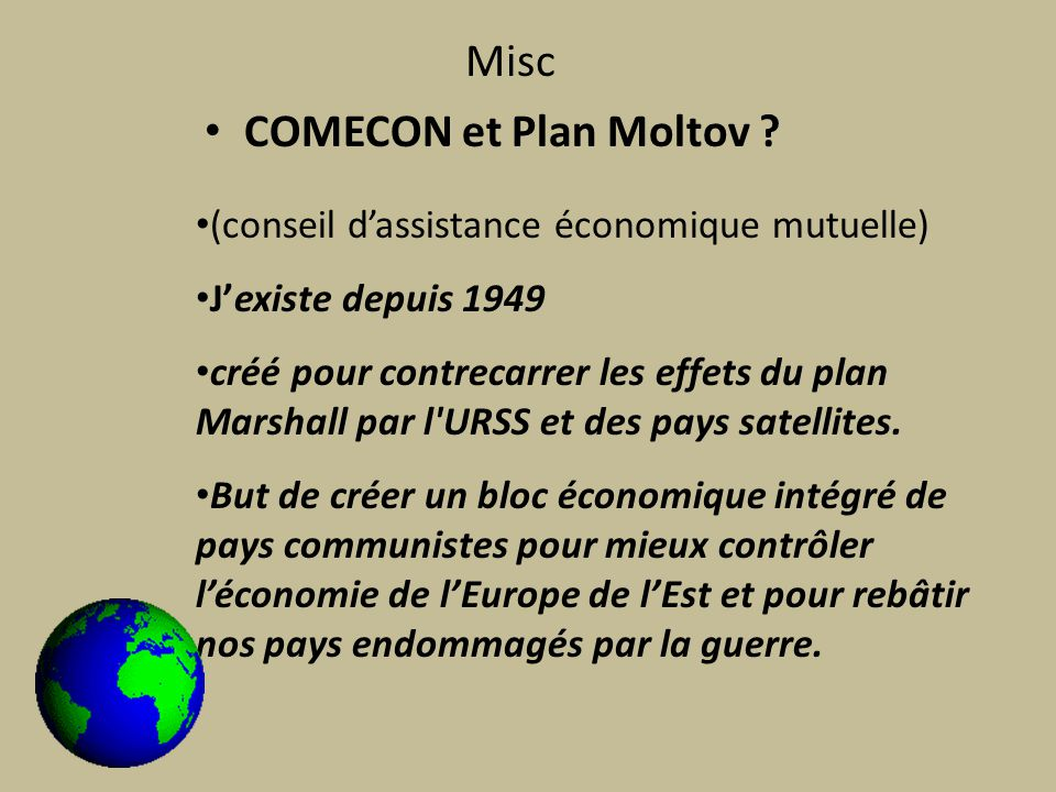COMECON et Plan Moltov .
