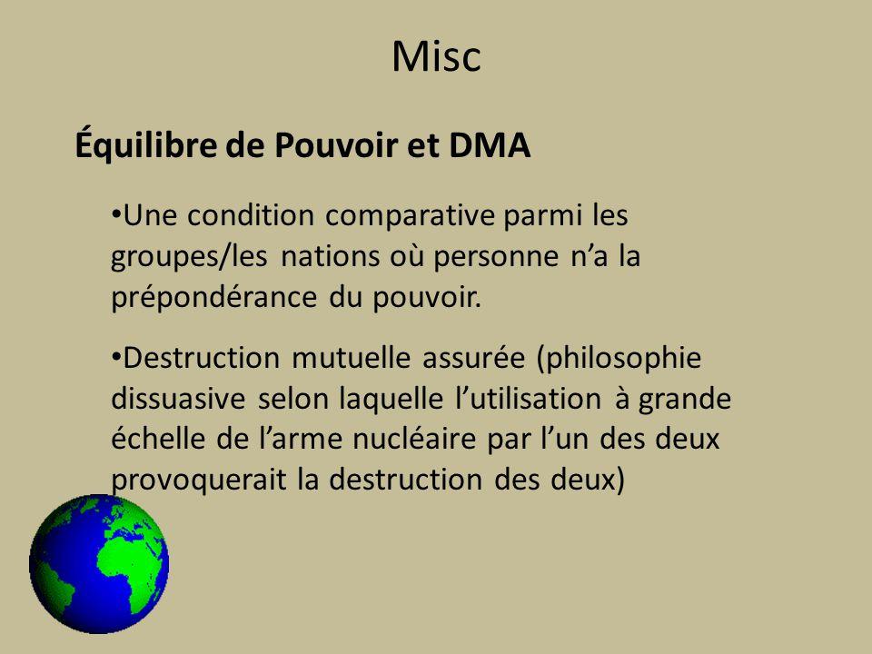 Misc Équilibre de Pouvoir et DMA Une condition comparative parmi les groupes/les nations où personne na la prépondérance du pouvoir.