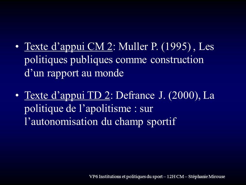 VP6 Institutions et politiques du sport – 12H CM – Stéphanie Mirouse Texte dappui CM 2: Muller P. (1995), Les politiques publiques comme construction