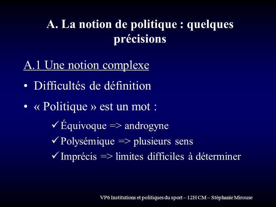 VP6 Institutions et politiques du sport – 12H CM – Stéphanie Mirouse A. La notion de politique : quelques précisions A.1 Une notion complexe Difficult