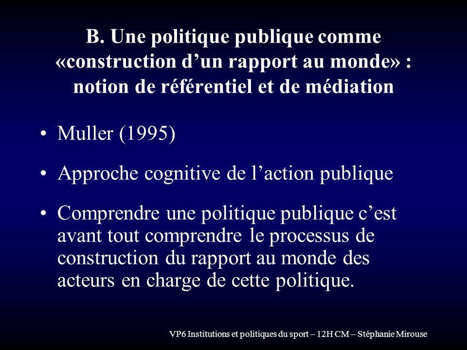 VP6 Institutions et politiques du sport – 12H CM – Stéphanie Mirouse B. Une politique publique comme «construction dun rapport au monde» : notion de r