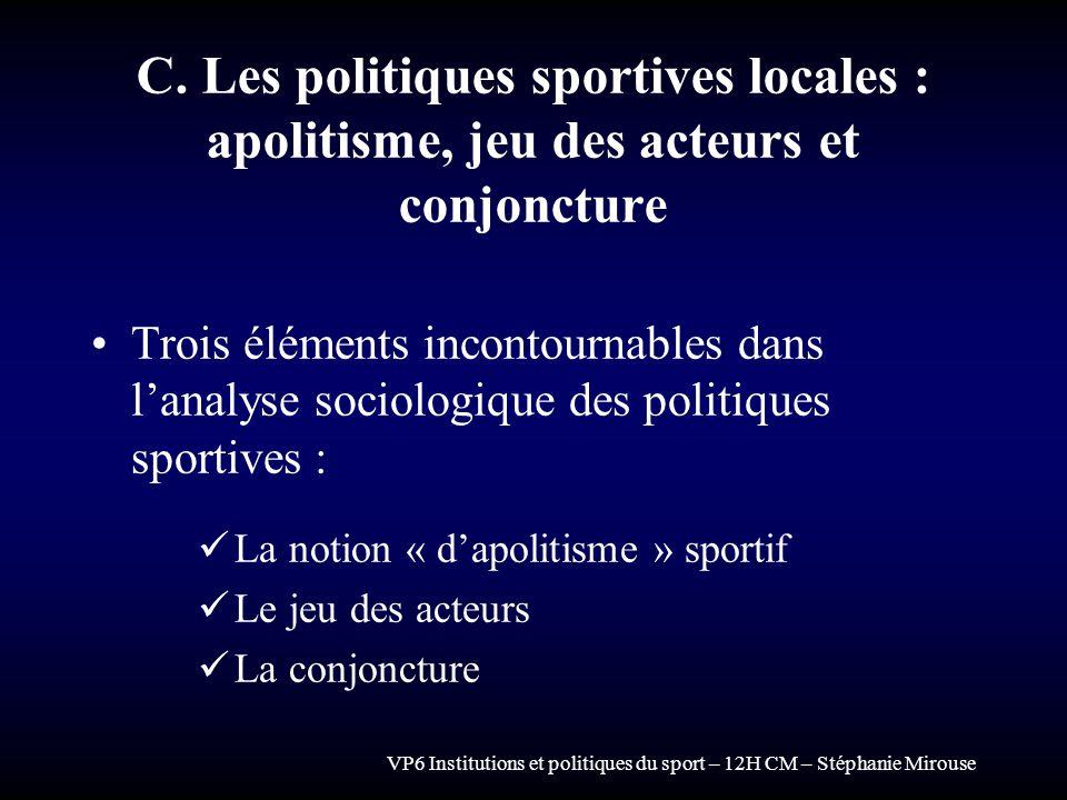VP6 Institutions et politiques du sport – 12H CM – Stéphanie Mirouse C. Les politiques sportives locales : apolitisme, jeu des acteurs et conjoncture