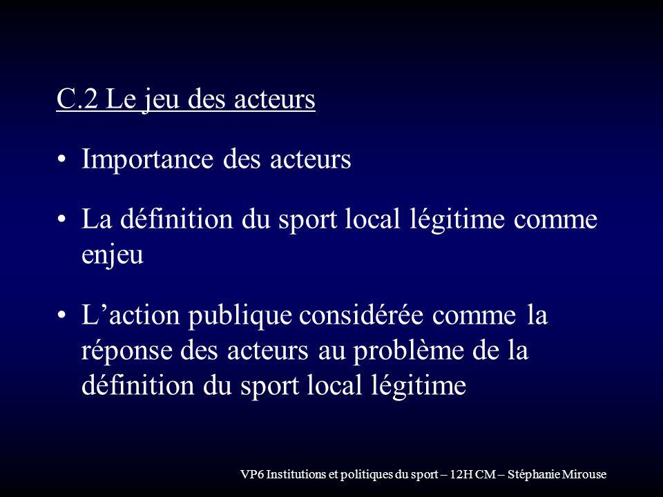 VP6 Institutions et politiques du sport – 12H CM – Stéphanie Mirouse C.2 Le jeu des acteurs Importance des acteurs La définition du sport local légiti