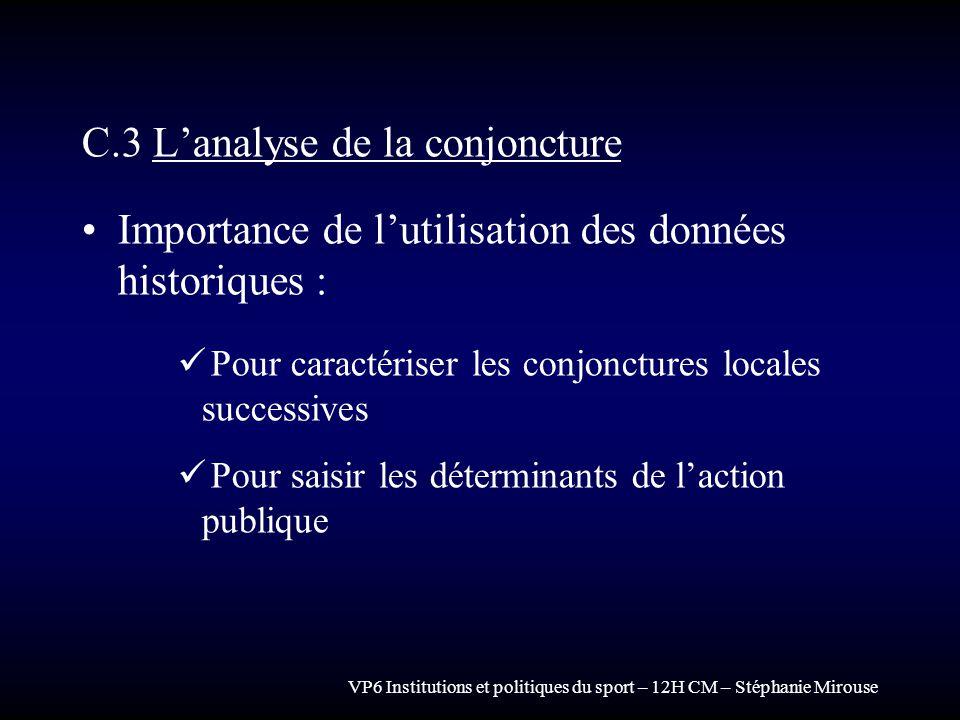 VP6 Institutions et politiques du sport – 12H CM – Stéphanie Mirouse C.3 Lanalyse de la conjoncture Importance de lutilisation des données historiques