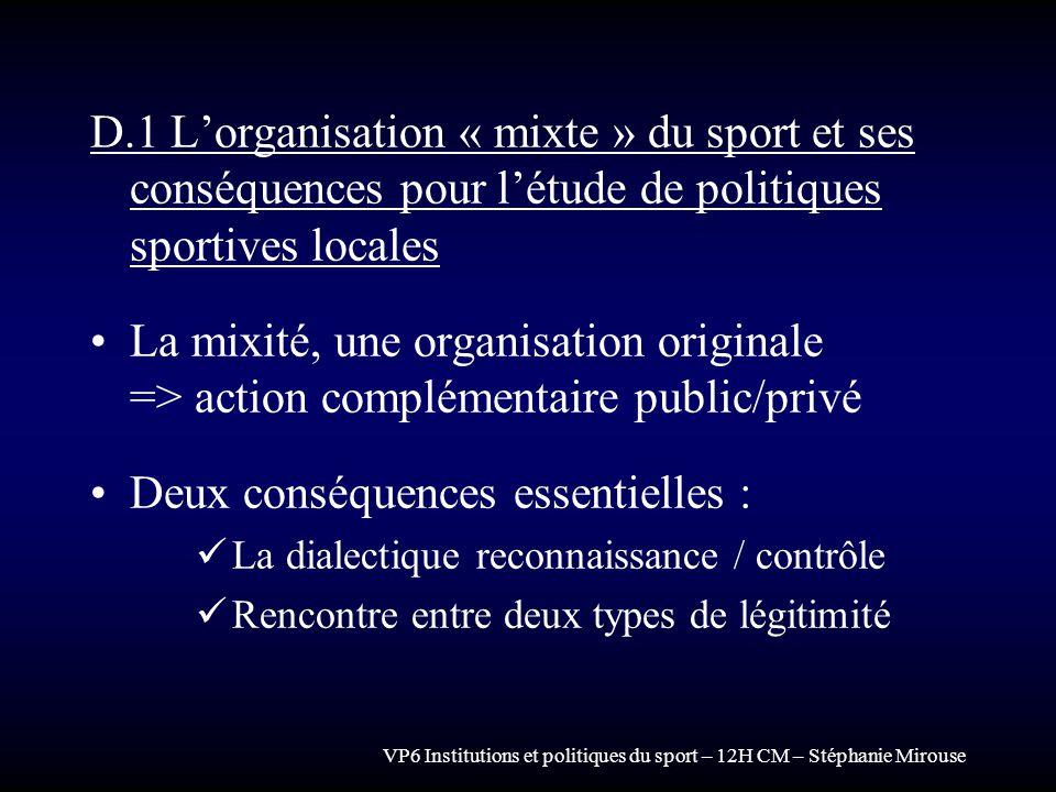 VP6 Institutions et politiques du sport – 12H CM – Stéphanie Mirouse D.1 Lorganisation « mixte » du sport et ses conséquences pour létude de politique