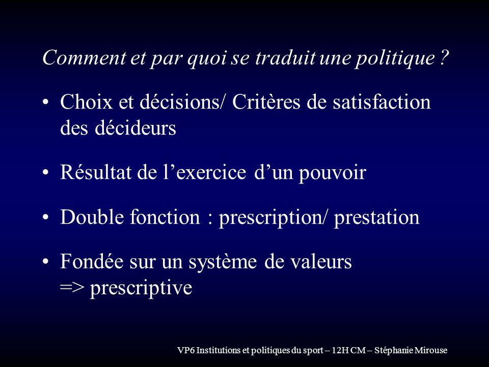 VP6 Institutions et politiques du sport – 12H CM – Stéphanie Mirouse Comment et par quoi se traduit une politique ? Choix et décisions/ Critères de sa