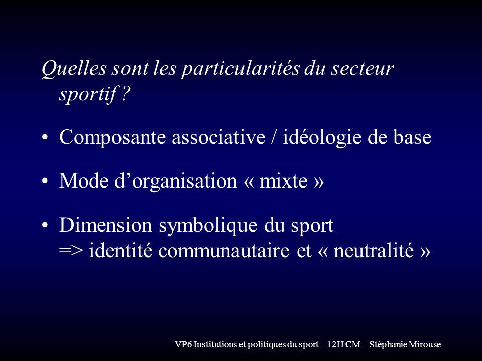 VP6 Institutions et politiques du sport – 12H CM – Stéphanie Mirouse Quelles sont les particularités du secteur sportif ? Composante associative / idé