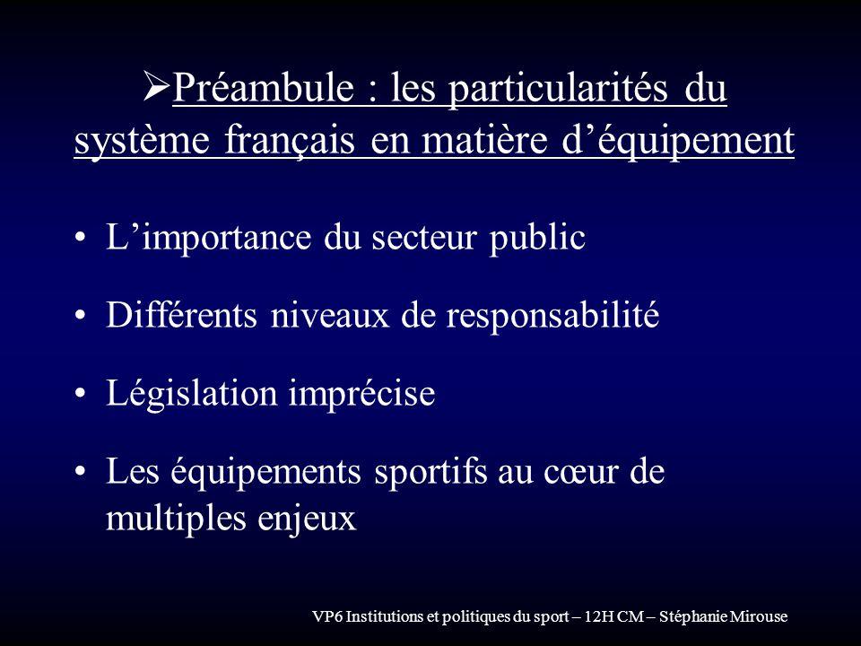VP6 Institutions et politiques du sport – 12H CM – Stéphanie Mirouse Préambule : les particularités du système français en matière déquipement Limport