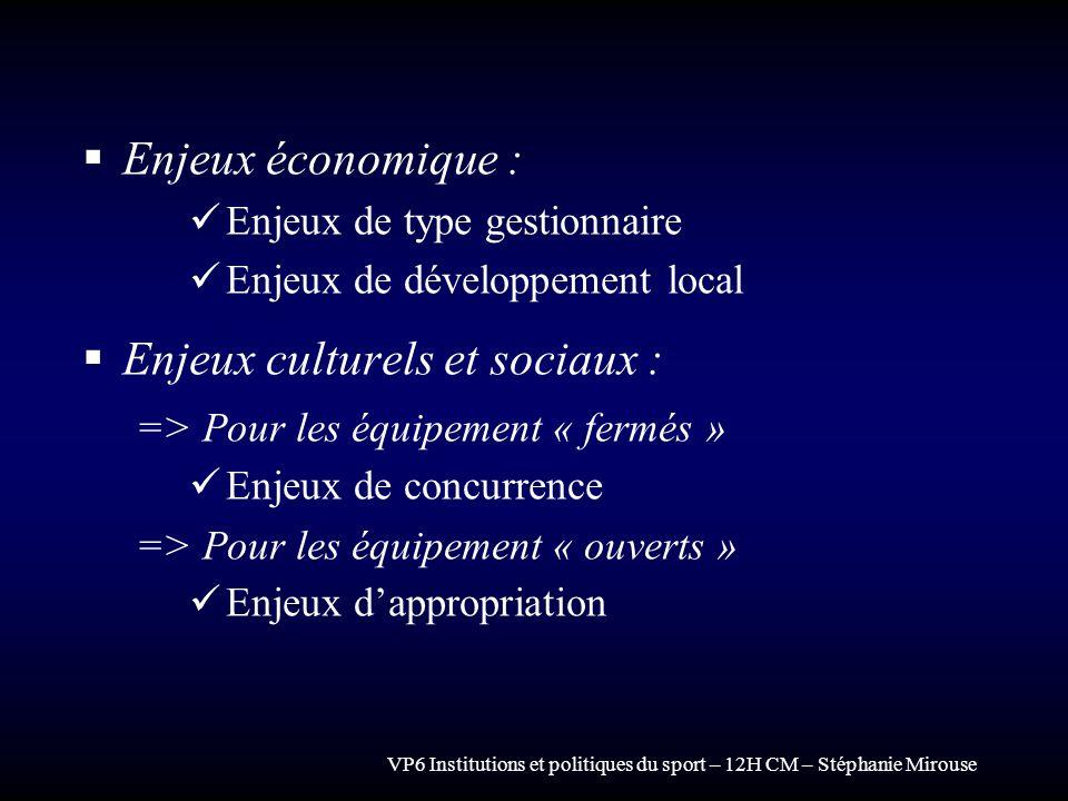 VP6 Institutions et politiques du sport – 12H CM – Stéphanie Mirouse Enjeux économique : Enjeux de type gestionnaire Enjeux de développement local Enj