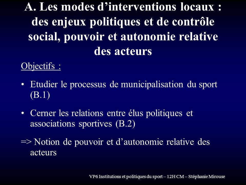VP6 Institutions et politiques du sport – 12H CM – Stéphanie Mirouse A. Les modes dinterventions locaux : des enjeux politiques et de contrôle social,