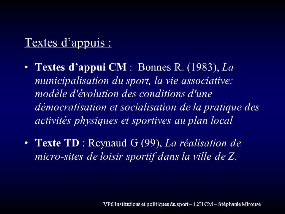 VP6 Institutions et politiques du sport – 12H CM – Stéphanie Mirouse Textes dappuis : Textes dappui CM : Bonnes R. (1983), La municipalisation du spor