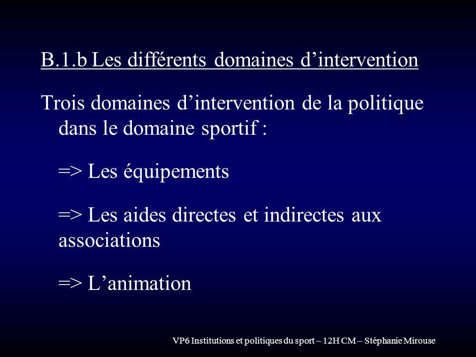 VP6 Institutions et politiques du sport – 12H CM – Stéphanie Mirouse B.1.b Les différents domaines dintervention Trois domaines dintervention de la po