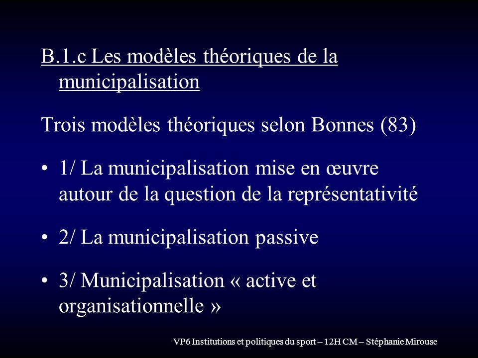 VP6 Institutions et politiques du sport – 12H CM – Stéphanie Mirouse B.1.c Les modèles théoriques de la municipalisation Trois modèles théoriques selo