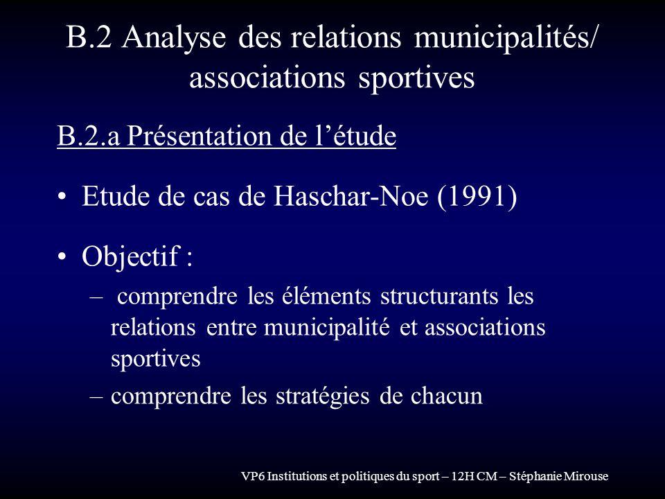 VP6 Institutions et politiques du sport – 12H CM – Stéphanie Mirouse B.2 Analyse des relations municipalités/ associations sportives B.2.a Présentatio
