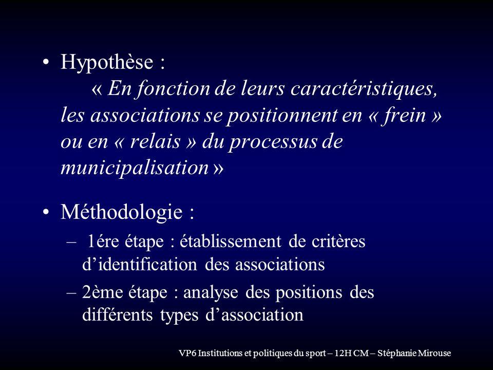 VP6 Institutions et politiques du sport – 12H CM – Stéphanie Mirouse Hypothèse : « En fonction de leurs caractéristiques, les associations se position