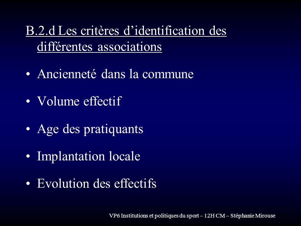 VP6 Institutions et politiques du sport – 12H CM – Stéphanie Mirouse B.2.d Les critères didentification des différentes associations Ancienneté dans l