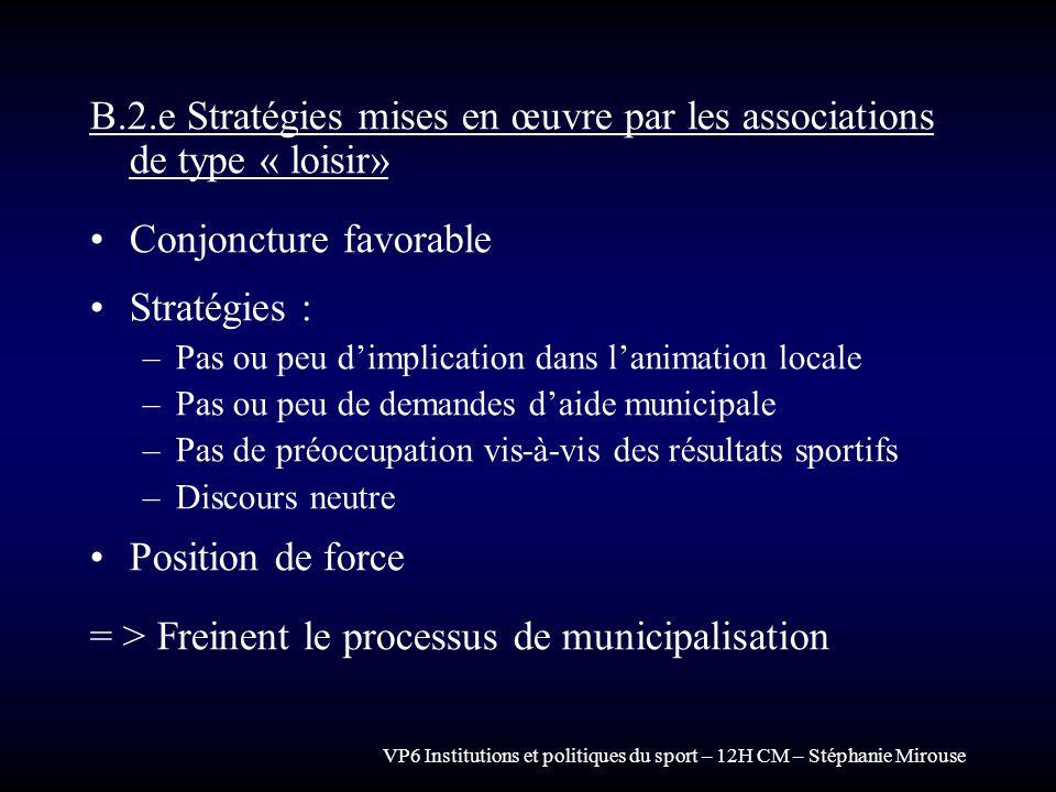 VP6 Institutions et politiques du sport – 12H CM – Stéphanie Mirouse B.2.e Stratégies mises en œuvre par les associations de type « loisir» Conjonctur