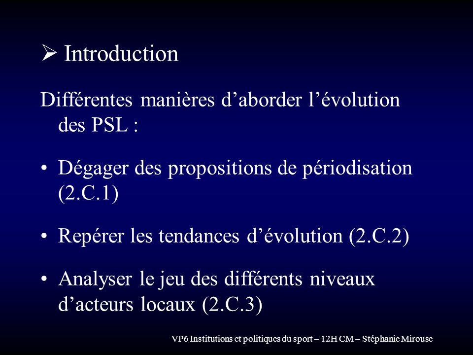 VP6 Institutions et politiques du sport – 12H CM – Stéphanie Mirouse Introduction Différentes manières daborder lévolution des PSL : Dégager des propo