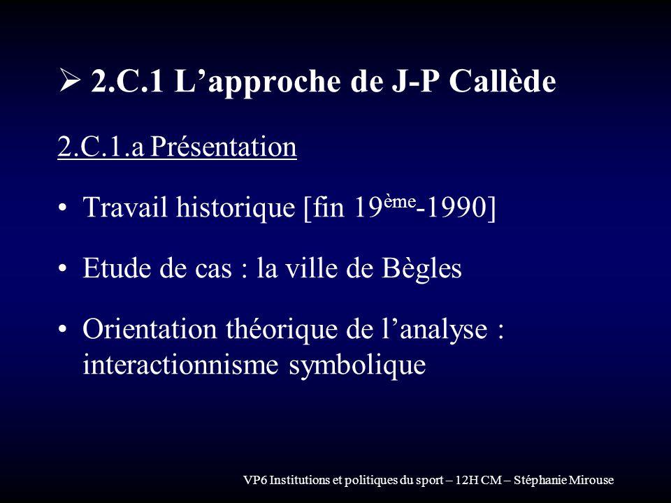 VP6 Institutions et politiques du sport – 12H CM – Stéphanie Mirouse 2.C.1 Lapproche de J-P Callède 2.C.1.a Présentation Travail historique [fin 19 èm
