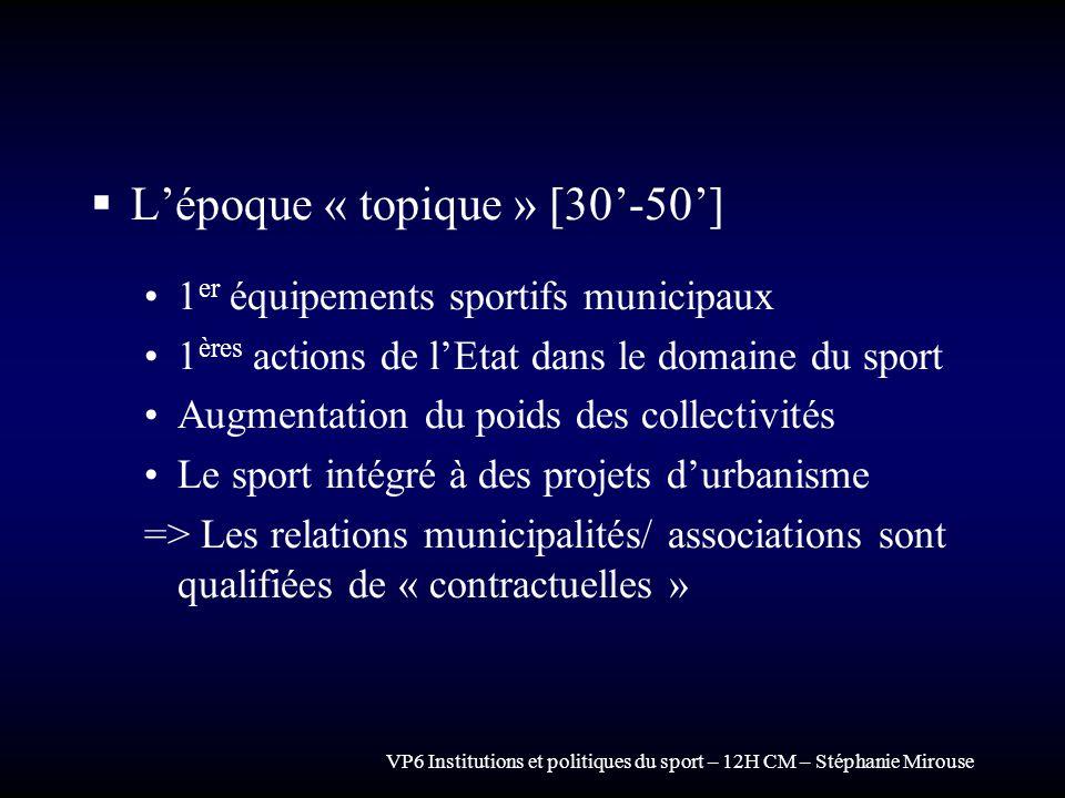 VP6 Institutions et politiques du sport – 12H CM – Stéphanie Mirouse Lépoque « topique » [30-50] 1 er équipements sportifs municipaux 1 ères actions d
