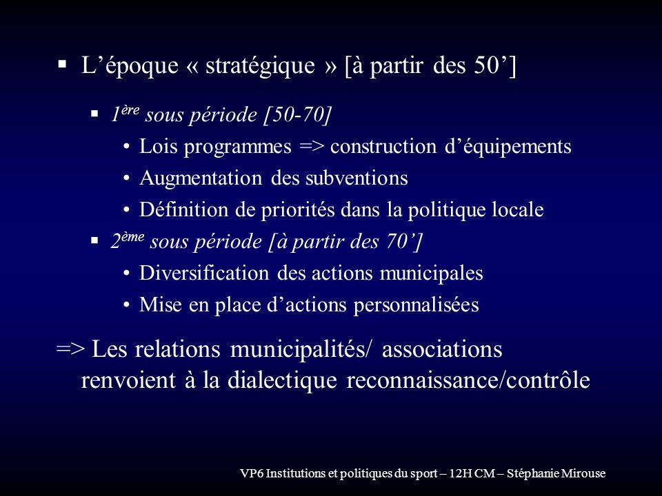 VP6 Institutions et politiques du sport – 12H CM – Stéphanie Mirouse Lépoque « stratégique » [à partir des 50] 1 ère sous période [50-70] Lois program