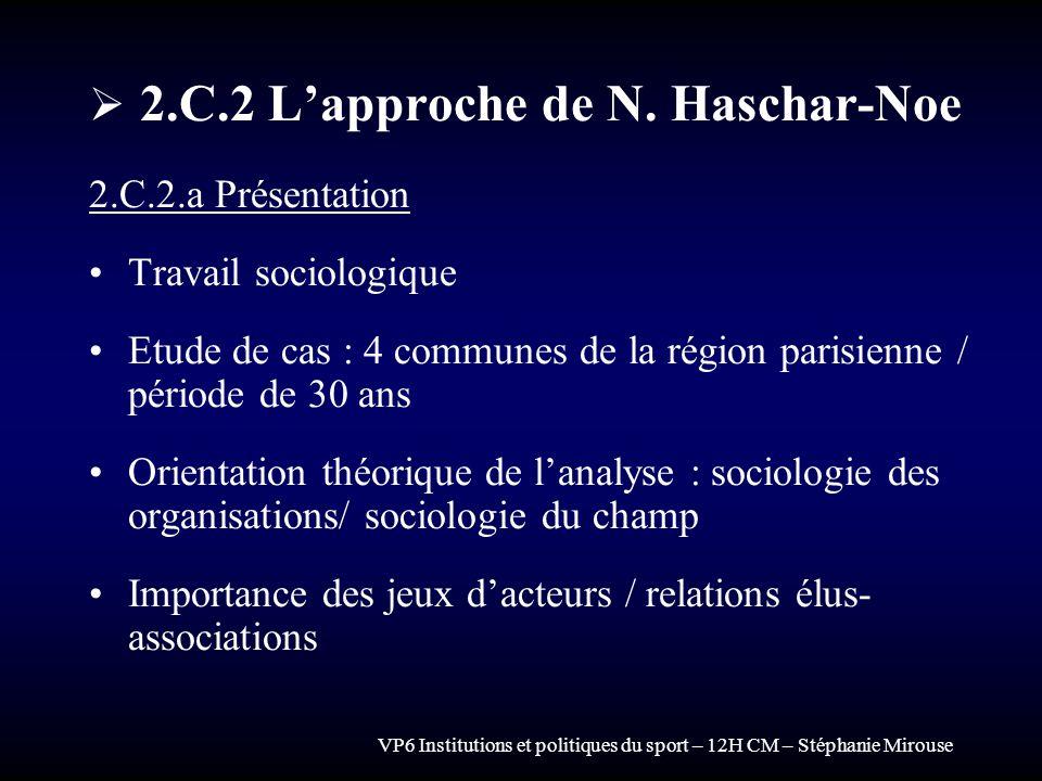 VP6 Institutions et politiques du sport – 12H CM – Stéphanie Mirouse 2.C.2 Lapproche de N. Haschar-Noe 2.C.2.a Présentation Travail sociologique Etude