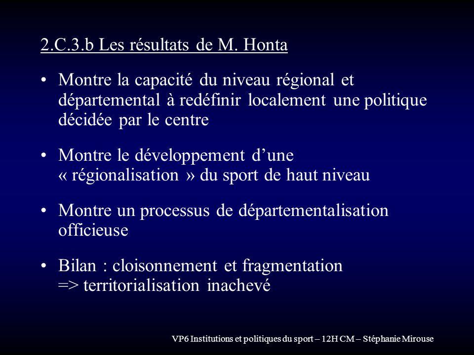 VP6 Institutions et politiques du sport – 12H CM – Stéphanie Mirouse 2.C.3.b Les résultats de M. Honta Montre la capacité du niveau régional et départ