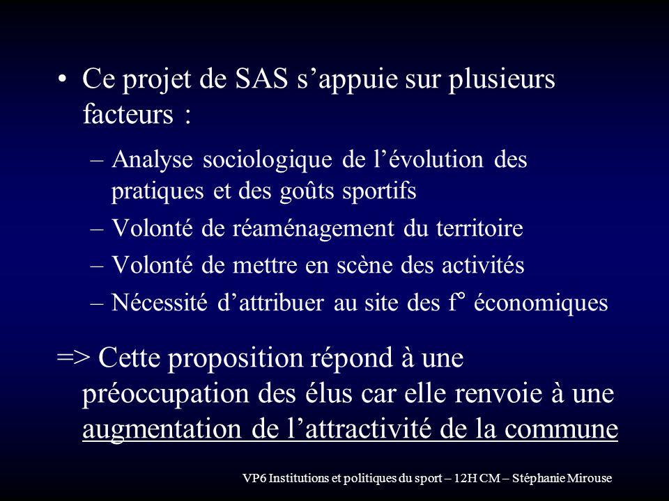 VP6 Institutions et politiques du sport – 12H CM – Stéphanie Mirouse Ce projet de SAS sappuie sur plusieurs facteurs : –Analyse sociologique de lévolu