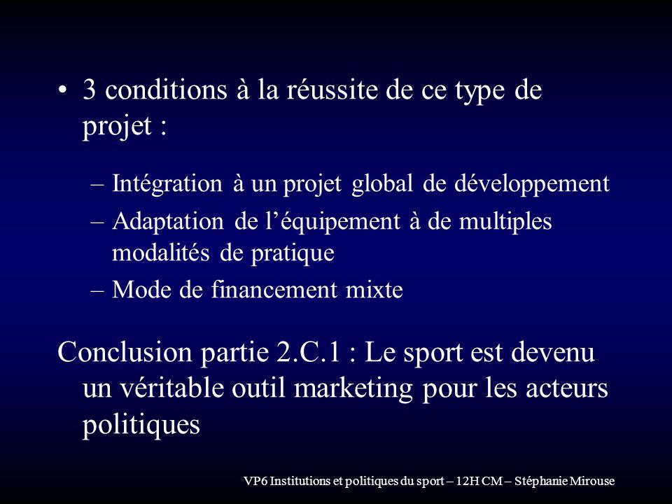 VP6 Institutions et politiques du sport – 12H CM – Stéphanie Mirouse 3 conditions à la réussite de ce type de projet : –Intégration à un projet global