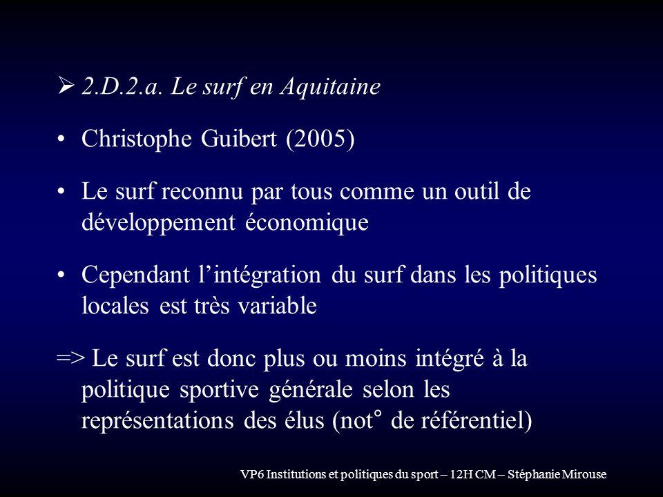 VP6 Institutions et politiques du sport – 12H CM – Stéphanie Mirouse 2.D.2.a. Le surf en Aquitaine Christophe Guibert (2005) Le surf reconnu par tous