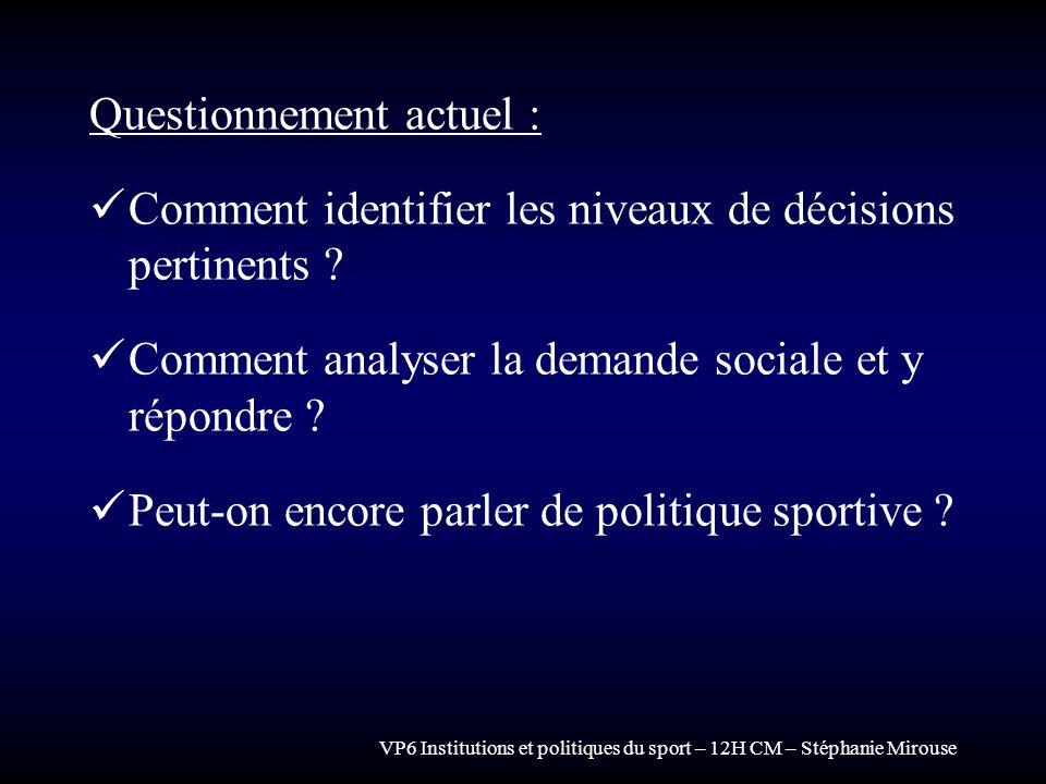 VP6 Institutions et politiques du sport – 12H CM – Stéphanie Mirouse Questionnement actuel : Comment identifier les niveaux de décisions pertinents ?