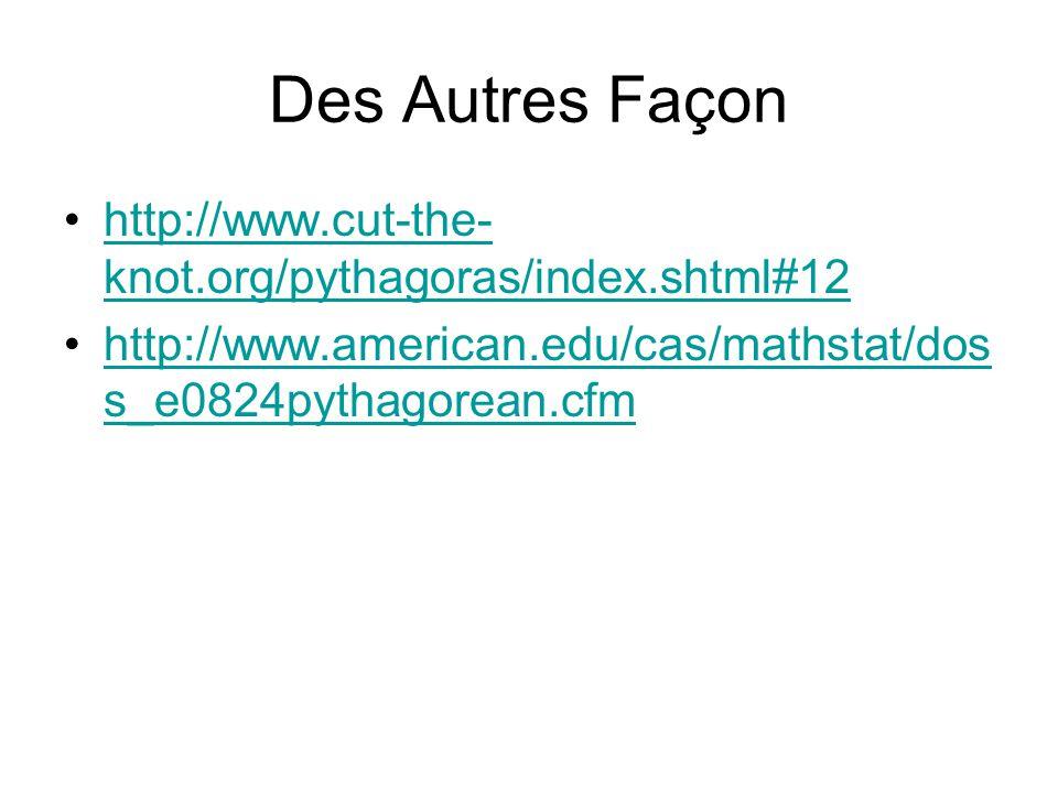 Des Autres Façon http://www.cut-the- knot.org/pythagoras/index.shtml#12http://www.cut-the- knot.org/pythagoras/index.shtml#12 http://www.american.edu/