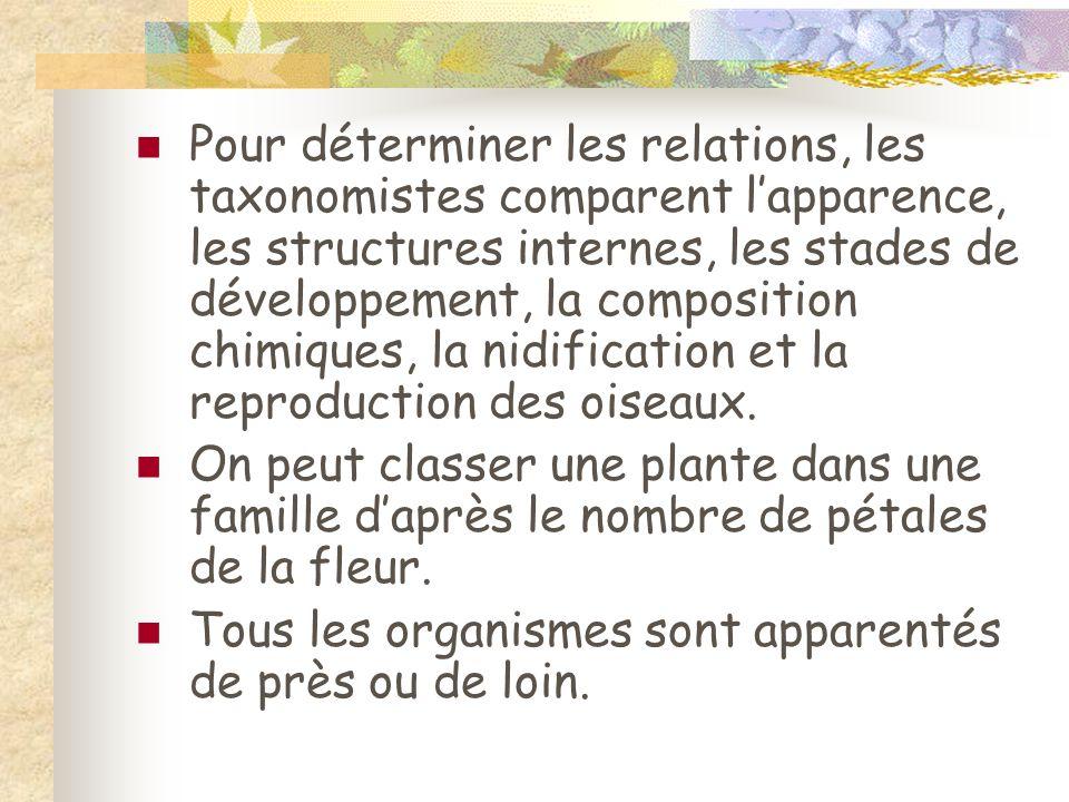 Pour déterminer les relations, les taxonomistes comparent lapparence, les structures internes, les stades de développement, la composition chimiques,