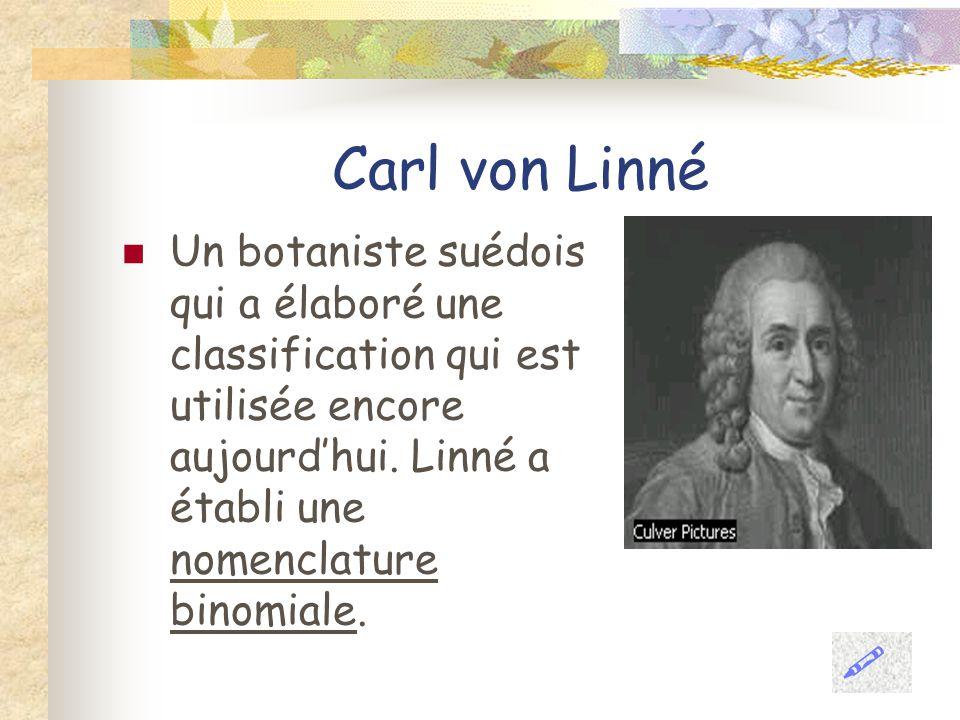 Carl von Linné Un botaniste suédois qui a élaboré une classification qui est utilisée encore aujourdhui. Linné a établi une nomenclature binomiale.
