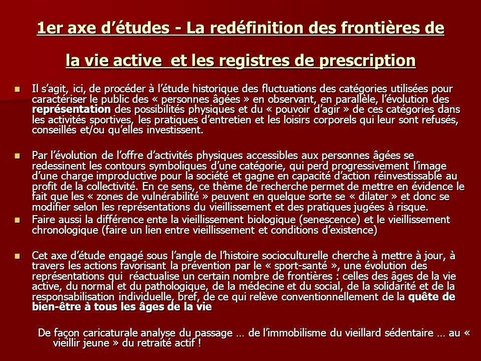 1er axe détudes - La redéfinition des frontières de la vie active et les registres de prescription Il sagit, ici, de procéder à létude historique des