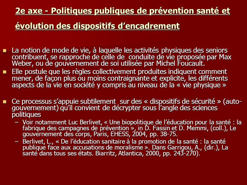 2e axe - Politiques publiques de prévention santé et évolution des dispositifs dencadrement La notion de mode de vie, à laquelle les activités physiqu