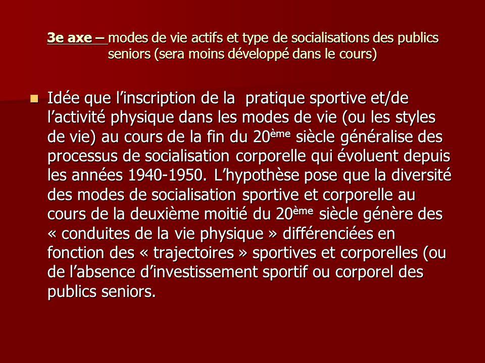 3e axe – modes de vie actifs et type de socialisations des publics seniors (sera moins développé dans le cours) Idée que linscription de la pratique s