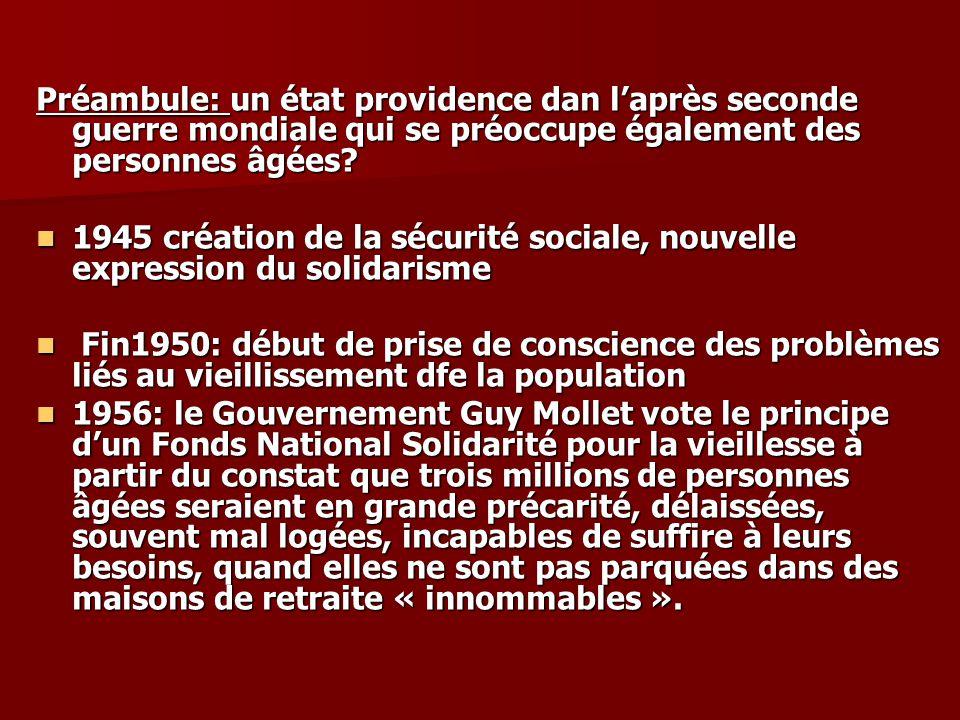 Préambule: un état providence dan laprès seconde guerre mondiale qui se préoccupe également des personnes âgées? 1945 création de la sécurité sociale,