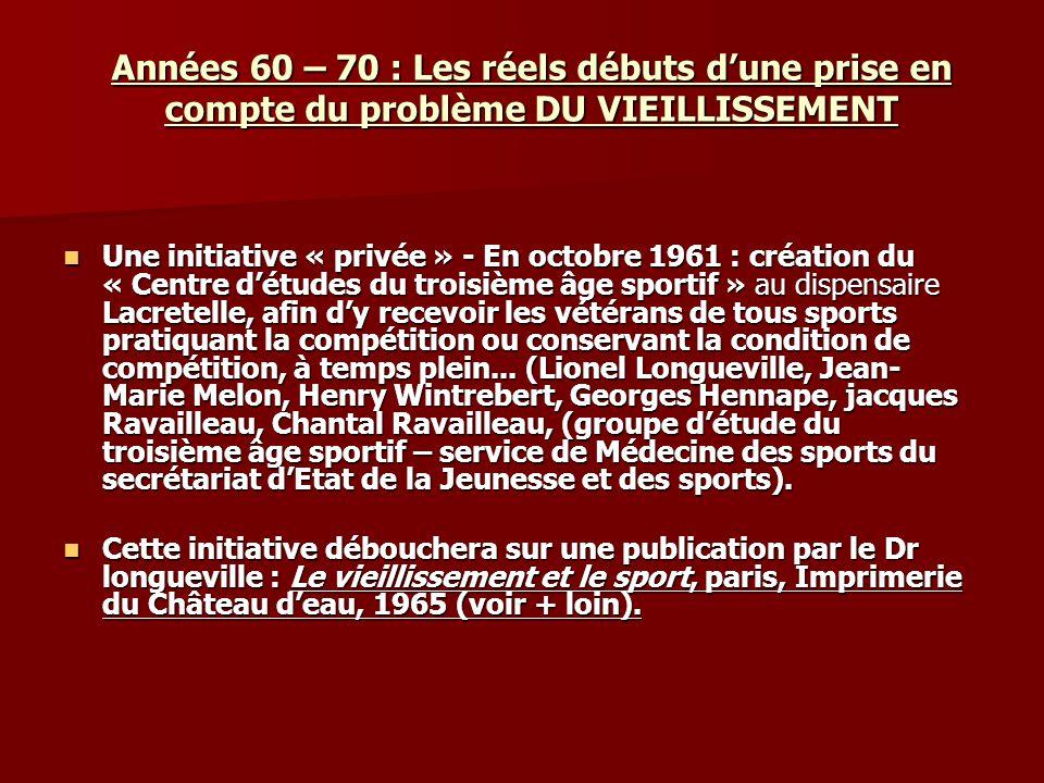 Années 60 – 70 : Les réels débuts dune prise en compte du problème DU VIEILLISSEMENT Une initiative « privée » - En octobre 1961 : création du « Centr