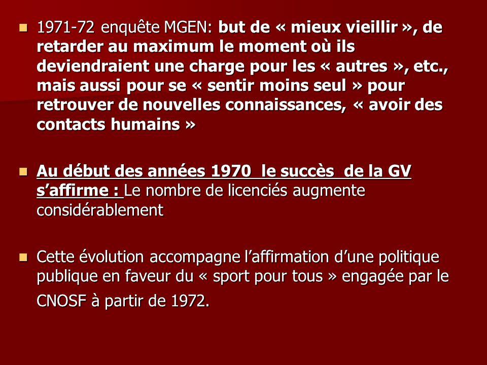 1971-72 enquête MGEN: but de « mieux vieillir », de retarder au maximum le moment où ils deviendraient une charge pour les « autres », etc., mais auss