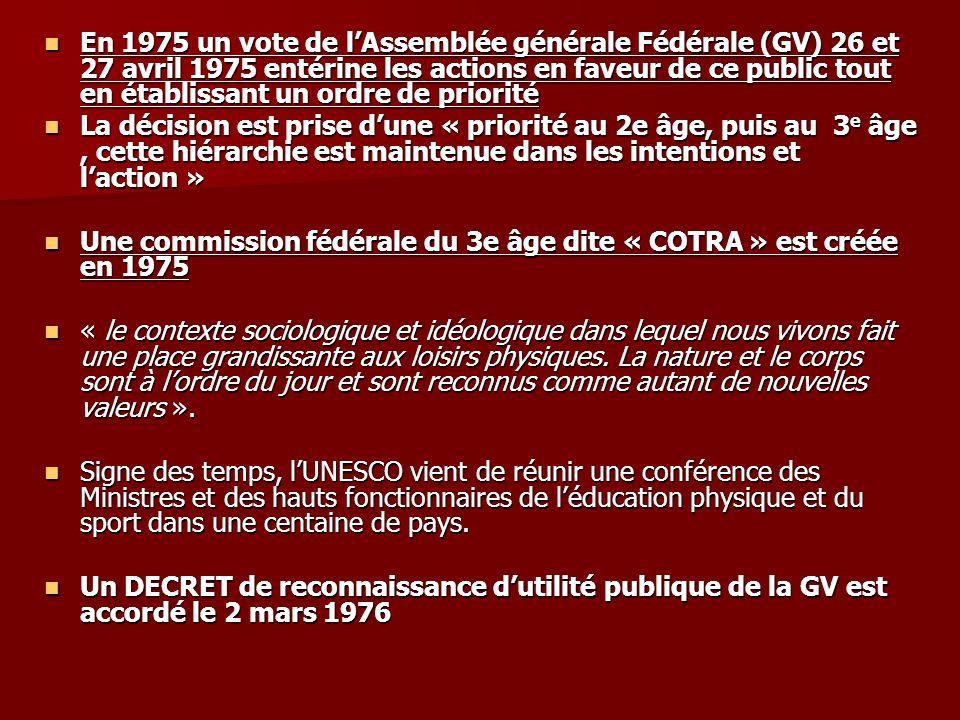 En 1975 un vote de lAssemblée générale Fédérale (GV) 26 et 27 avril 1975 entérine les actions en faveur de ce public tout en établissant un ordre de p