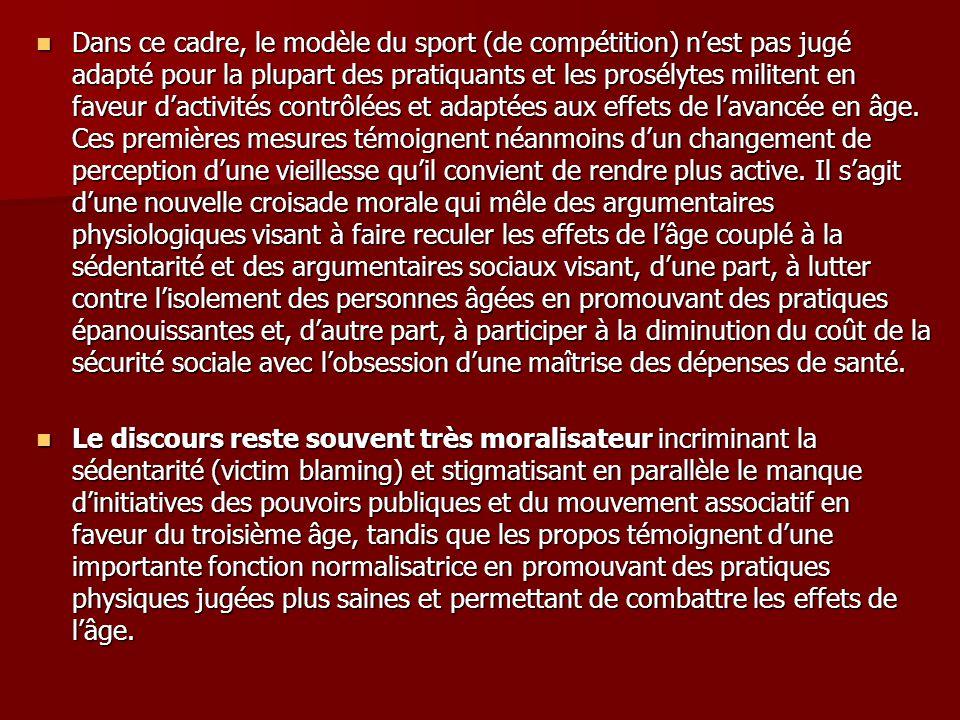 Dans ce cadre, le modèle du sport (de compétition) nest pas jugé adapté pour la plupart des pratiquants et les prosélytes militent en faveur dactivité