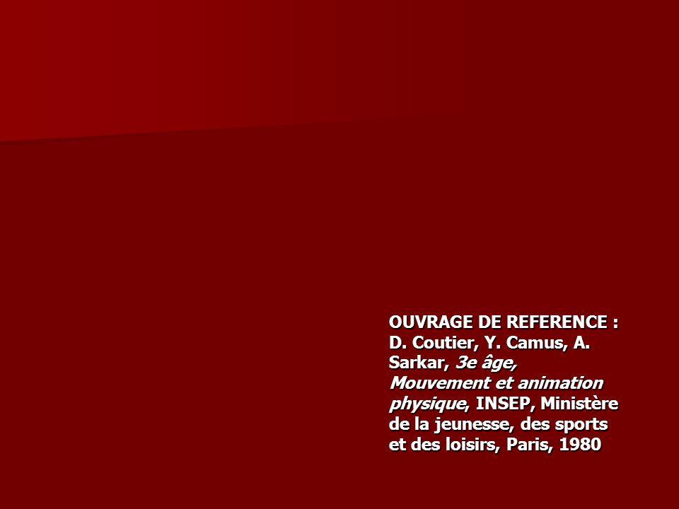 OUVRAGE DE REFERENCE : D. Coutier, Y. Camus, A. Sarkar, 3e âge, Mouvement et animation physique, INSEP, Ministère de la jeunesse, des sports et des lo