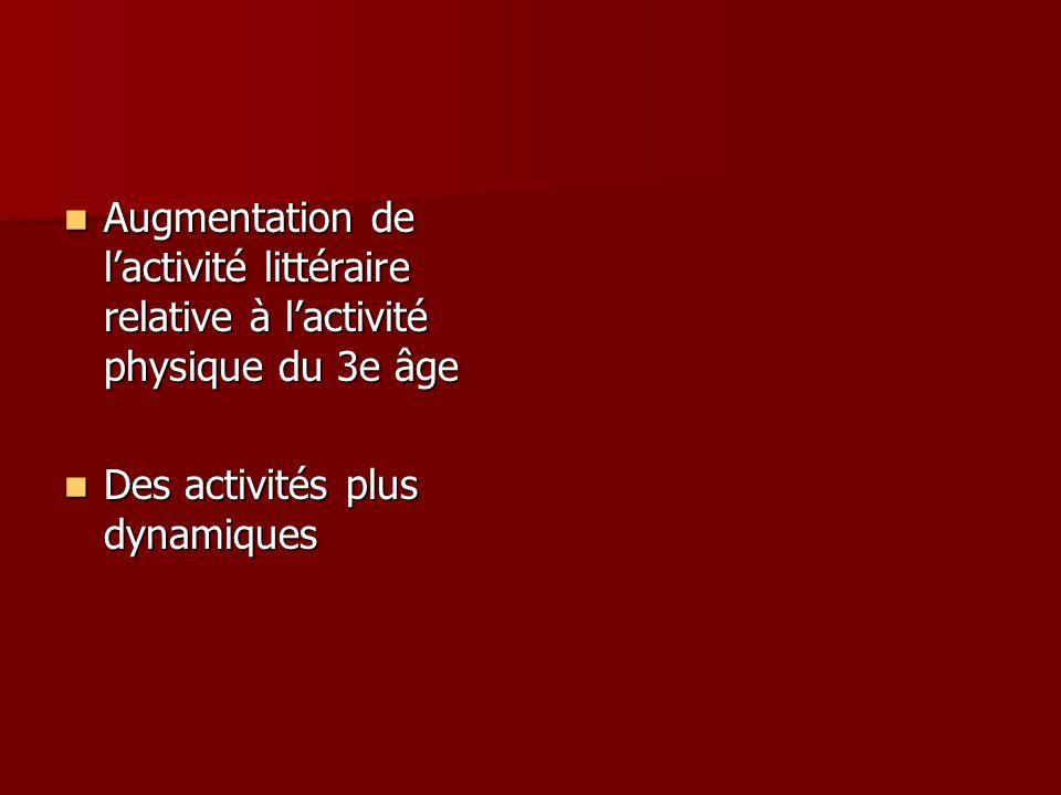 Augmentation de lactivité littéraire relative à lactivité physique du 3e âge Augmentation de lactivité littéraire relative à lactivité physique du 3e